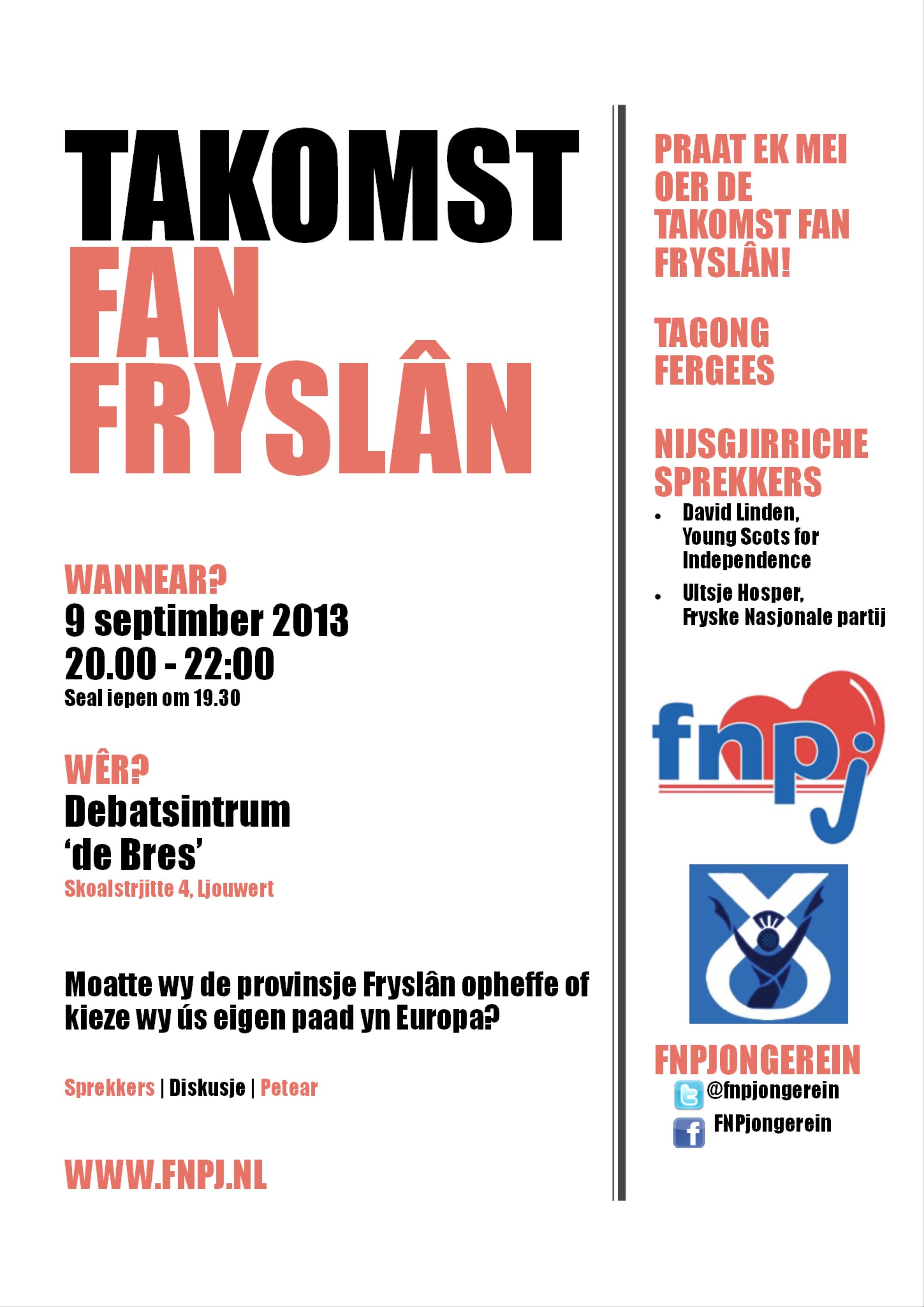 Aankondiging debatavond FNPjongerein: 'Takomst fan Fryslân'